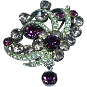 Eisenberg Signed Lavender and Purple Rhinestones Rhodium Plated Pin Brooch