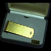 Dunhaven Diamond Money Clip Mens MIB NOS Circa 1950 Crafted in Bright Gold Plate