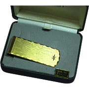 Dunhaven Diamond Money Clip Mens MIB NOS Circa 1950 Crafted in Bright Gold Plate