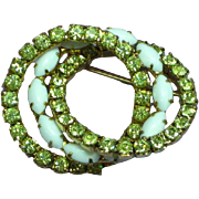 Rhinestones Yellow Triple Ring Circle Pin Brooch