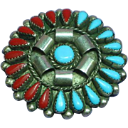 Native American Indian Turquoise Coral Sterling Silver Zuni Cluster Pin/Pendant