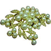 Richelieu Gold Plated Faux Pearl Large Floral Spray Pin Brooch