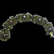Coro Designer Signed Purple Rhinestone Antiqued Gold Bracelet