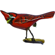 Takahashi Male Red Cardinal Carved Wood Bird Pin Brooch