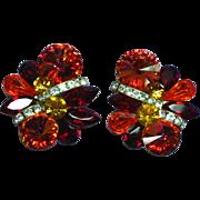 Rhinestones Volcano Red Orange Rivoli Large Clip Earrings