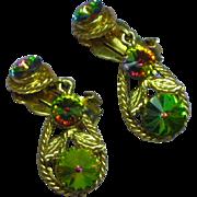 Rhinestones Heliotrope Watermelon Rivoli  Dangle Drop Clip Earrings