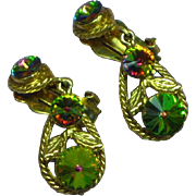Rhinestones Heliotrope Watermelon Rivoli  Dangle Drop Clip Earrings