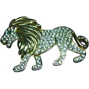 Rhinestones Majestic Lion King-of-the-Jungle Pin Brooch