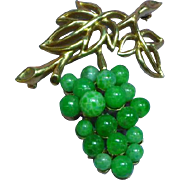 Crown Trifari Articulated Peking Glass Grapes Pin Brooch