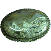 Beautiful Mesmerizing Large Antique Moss Agate Sterling Silver Pin Pendant Brooch