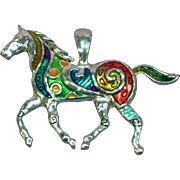 Large Fun Fantasy Enamel Colorful Silver tone Horse Necklace Pendant