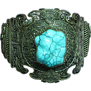 Art Deco  Chinese Silver Floral Cannetille Filigree Carved Turquoise Double Dragon Hinged Large Bracelet