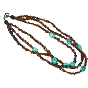 Amber Genuine Cognac Russian Genuine Turquoise Torsade Triple Strand Sterling Silver Necklace