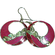 Edgar Berebi Enamel Drop Hoop Pierced Earrings
