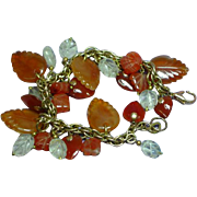 Gemstones Mixed Agate Carnelian Rock Crystal Carved Leaves Hearts Charm Bracelet