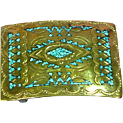 Nakai Original Navajo Indian Handmade Bronze Turquoise Inlay Belt Buckle