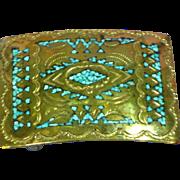 Nakai Original Navajo Indian Handmade Bronze Turquoise Inlay Belt Buckle