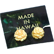 Coral Carved Angel Skin Floral Rose Flower Pierced Earrings