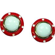 Mod Red and White Polka Dot Large Pierced Earrings