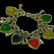 Chunky Vintage Bakelite Charms  Dangling Hearts Keys Link Bracelet