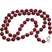 "Red Genuine Gemstone 8 mm Bead 22"" long Necklace"