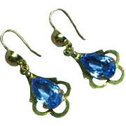 Victorian Pendant Drop Dangle Estate 18K Yellow Gold 750 Ceylon Sapphire Pierced Earrings
