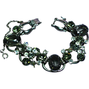 Fabulous D&E JULIANA Black Diamond Rhinestone Vintage Estate Huge Bracelet