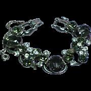 Fabulous D&E JULIANA Black Diamond Rhinestone Vintage Estate Huge Bracelet