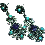 Matilde Poulat Mexican Mexico Large Dangle Sterling Silver Turquoise Amethyst Pierced Earrings