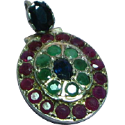 Exquisite 18k White Gold Emerald Sapphire Ruby Necklace Pendant