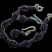 Genuine Garnet Matching Bracelet and Pierced Earrings Set Demi Parure