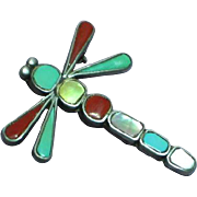 Native American Indian Turquoise Red Coral Mother of Pearl Inlay Marked Signed Dragon Fly Figural Pendant Pin Brooch