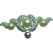 Marvella Faux Pearl Pave Clear Rhinestones Signed Brooch Pin