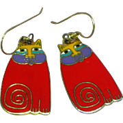 Laural Burch Olivia Red Enamel Cat Pierced Earrings