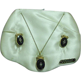 Art Deco Onyx & Genuine Diamond Gold Filled Necklace and Earrings Set Demi Parure