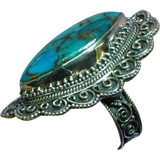 Turquoise with Gold Matrix Etruscan Style Sterling Silver Large Ring