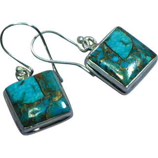Turquoise with Gold Matrix  Sterling Silver Large Pierced Earrings