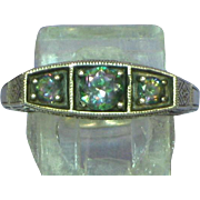 Vintage Gemstone 3 Stone Sterling Silver Engagement Dinner Cocktail Fancy Filigree Ring