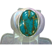 Vintage Gold Infused Turquoise Sterling Silver Estate Ring
