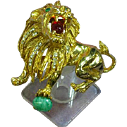 Extraordinary Gripoix Glass Hattie Carnegie Lion Unsigned Large Pin Brooch