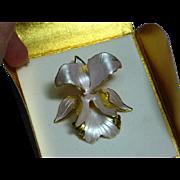 Cerrito Amazing Lavender Pink Enamel Orchid MIB Pin Brooch