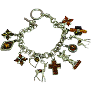 "Amber Sterling Silver One-of-a-Kind Animal Figural Charm 7"" Bracelet"