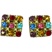 Flashy  Jewel-Tone Faceted Rhinestone Square Clip Earrings