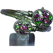 Maggie Sweet Quartz Jewel-Tone Rhinestone Clamper /Watch Cuff Bracelet
