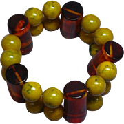 Bakelite Chunky Thick Wide Bead Stretch Bracelet