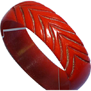 Carved Bakelite True Red  Bangle Bracelet