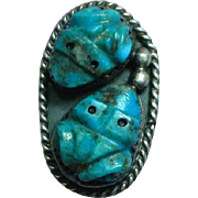 Native American Indian  Carved Double Frogs Turquoise Sterling Silver Ring