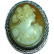 Art Deco 14K White Gold Goddess Shell Cameo Brooch Pin