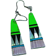 Native American Zuni Spiny Oyster Gaspeite Turquoise Multi Stone Inlay Dangling Pierced Earrings