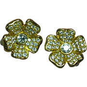 Joan Rivers  Designer Signed Iconic Rhinestone Flower Clip Earrings